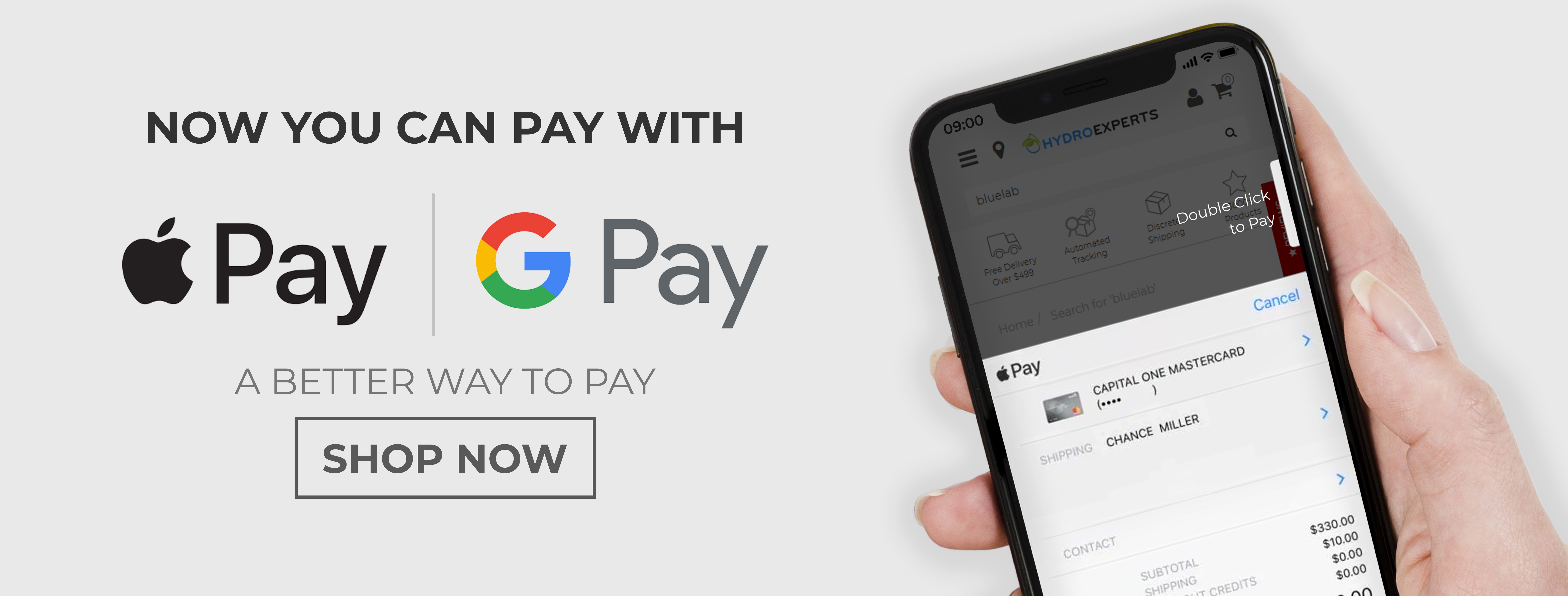 Apple pay & Google Pay Available