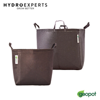 1 x GeoPot Black Self-Supporting with Handles Geo Smart Fabric Pot - 38L